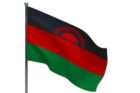 Malawi flag on pole. Metal flagpole. National flag of Malawi 3D illustration isolated on white