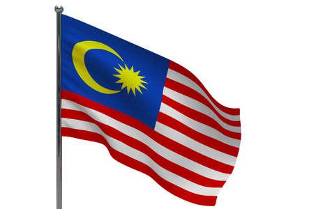 Malaysia flag on pole. Metal flagpole. National flag of Malaysia 3D illustration isolated on white