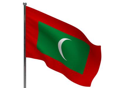 Maldives flag on pole. Metal flagpole. National flag of Maldives 3D illustration isolated on white