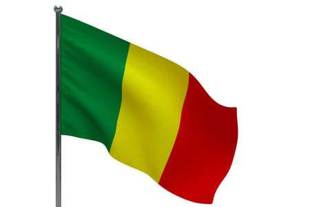 Mali flag on pole. Metal flagpole. National flag of Mali 3D illustration isolated on white Stok Fotoğraf