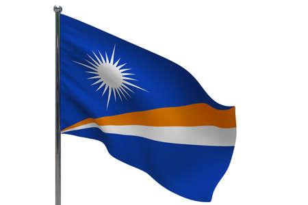 Marshall Islands flag on pole. Metal flagpole. National flag of Marshall Islands 3D illustration isolated on white Stok Fotoğraf