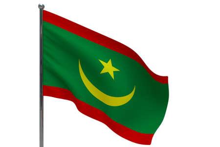 Mauritania flag on pole. Metal flagpole. National flag of Mauritania 3D illustration isolated on white