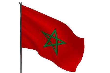 Morocco flag on pole. Metal flagpole. National flag of Morocco 3D illustration isolated on white Stok Fotoğraf
