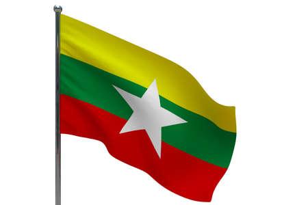 Myanmar flag on pole. Metal flagpole. National flag of Myanmar 3D illustration isolated on white Stok Fotoğraf