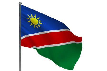 Namibia flag on pole. Metal flagpole. National flag of Namibia 3D illustration isolated on white Stok Fotoğraf