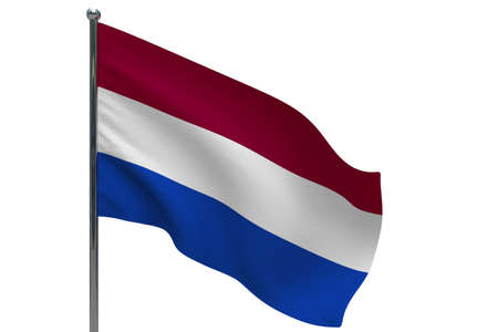 Netherlands flag on pole. Metal flagpole. National flag of Netherlands 3D illustration isolated on white