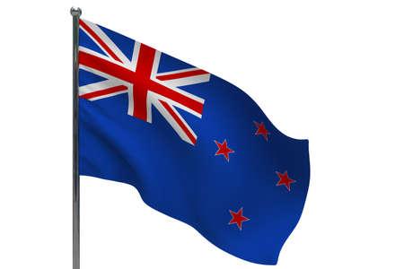 New Zealand flag on pole. Metal flagpole. National flag of New Zealand 3D illustration isolated on white