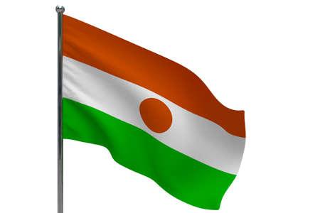 Niger flag on pole. Metal flagpole. National flag of Niger 3D illustration isolated on white Stok Fotoğraf