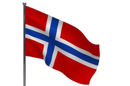 Norway flag on pole. Metal flagpole. National flag of Norway 3D illustration isolated on white