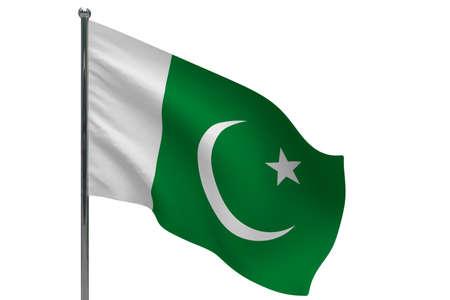 Pakistan flag on pole. Metal flagpole. National flag of Pakistan 3D illustration isolated on white Stok Fotoğraf