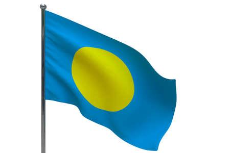 Palau flag on pole. Metal flagpole. National flag of Palau 3D illustration isolated on white