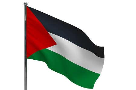 Palestine flag on pole. Metal flagpole. National flag of Palestine 3D illustration isolated on white