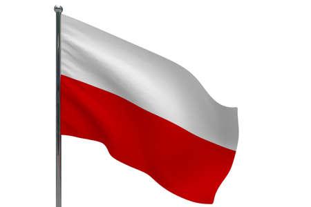 Poland flag on pole. Metal flagpole. National flag of Poland 3D illustration isolated on white Stok Fotoğraf