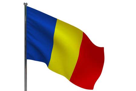 Romania flag on pole. Metal flagpole. National flag of Romania 3D illustration isolated on white Stok Fotoğraf