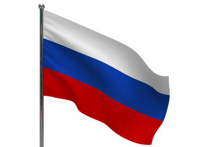 Russia flag on pole. Metal flagpole. National flag of Russia 3D illustration isolated on white Stok Fotoğraf