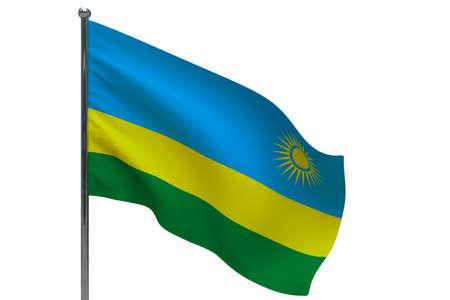 Rwanda flag on pole. Metal flagpole. National flag of Rwanda 3D illustration isolated on white Stok Fotoğraf
