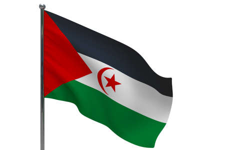 Sahrawi Arab Democratic Republic flag on pole. Metal flagpole. National flag of Sahrawi Arab Democratic Republic 3D illustration isolated on white Stok Fotoğraf