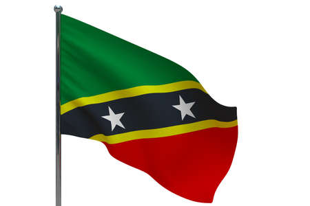Saint Kitts and Nevis flag on pole. Metal flagpole. National flag of Saint Kitts and Nevis 3D illustration isolated on white