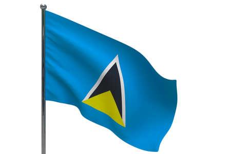 Saint Lucia flag on pole. Metal flagpole. National flag of Saint Lucia 3D illustration isolated on white
