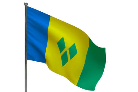 Saint Vincent and the Grenadines flag on pole. Metal flagpole. National flag of Saint Vincent and the Grenadines 3D illustration isolated on white