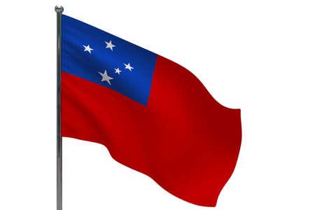 Samoa flag on pole. Metal flagpole. National flag of Samoa 3D illustration isolated on white Stok Fotoğraf