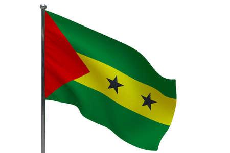 Sao Tome and Principe flag on pole. Metal flagpole. National flag of Sao Tome and Principe 3D illustration isolated on white