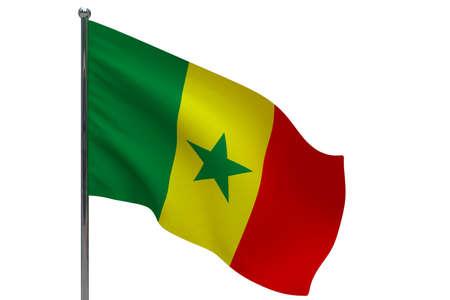 Senegal flag on pole. Metal flagpole. National flag of Senegal 3D illustration isolated on white Stok Fotoğraf