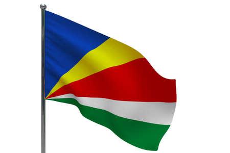 Seychelles flag on pole. Metal flagpole. National flag of Seychelles 3D illustration isolated on white