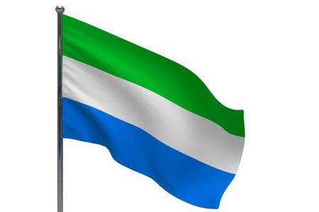 Sierra leone flag on pole Metal flagpole. National flag of Sierra leone 3D illustration isolated on white