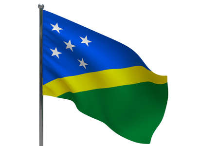 Solomon Islands flag on pole. Metal flagpole. National flag of Solomon Islands 3D illustration isolated on white