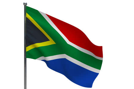 South Africa flag on pole. Metal flagpole. National flag of South Africa 3D illustration isolated on white