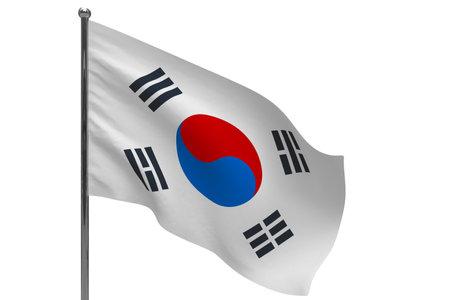 South korea flag on pole. Metal flagpole. National flag of South korea 3D illustration isolated on white