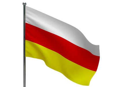 South ossetia flag on pole. Metal flagpole. National flag of South ossetia 3D illustration isolated on white Stok Fotoğraf