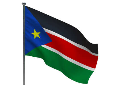 South Sudan flag on pole. Metal flagpole. National flag of South Sudan 3D illustration isolated on white