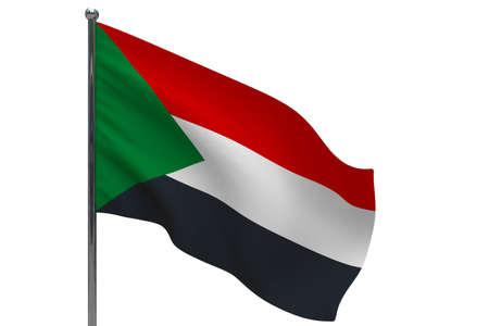 Sudan flag on pole. Metal flagpole. National flag of Sudan 3D illustration isolated on white Stok Fotoğraf