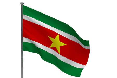 Suriname flag on pole. Metal flagpole. National flag of Suriname 3D illustration isolated on white