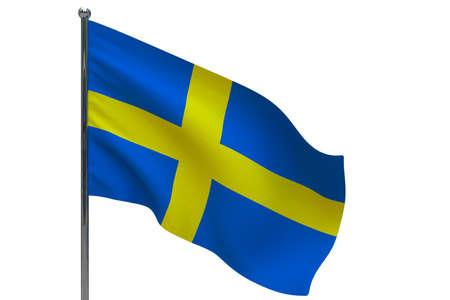 Sweden flag on pole. Metal flagpole. National flag of Sweden 3D illustration isolated on white