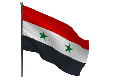 Syria flag on pole. Metal flagpole. National flag of Syria 3D illustration isolated on white