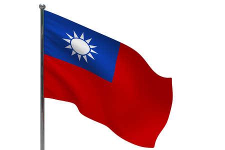 Taiwan flag on pole. Metal flagpole. National flag of Taiwan 3D illustration isolated on white