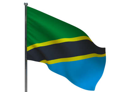 Tanzania flag on pole. Metal flagpole. National flag of Tanzania 3D illustration isolated on white
