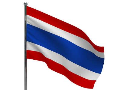 Thailand flag on pole. Metal flagpole. National flag of Thailand 3D illustration isolated on white