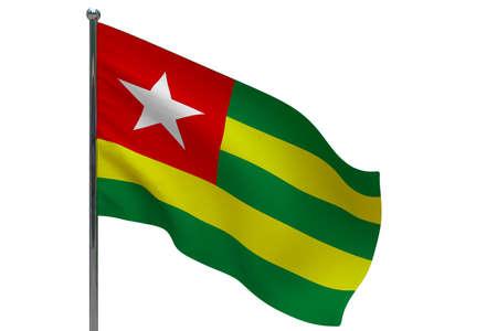Togo flag on pole. Metal flagpole. National flag of Togo 3D illustration isolated on white