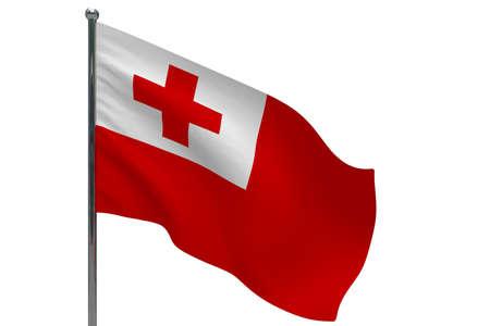 Tonga flag on pole. Metal flagpole. National flag of Tonga 3D illustration isolated on white