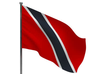 Trinidad and Tobago flag on pole. Metal flagpole. National flag of Trinidad and Tobago 3D illustration isolated on white