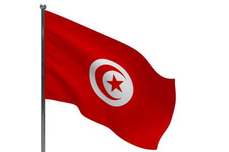 Tunisia flag on pole. Metal flagpole. National flag of Tunisia 3D illustration isolated on white Stok Fotoğraf