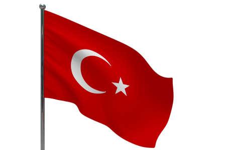 Turkey flag on pole. Metal flagpole. National flag of Turkey 3D illustration isolated on white
