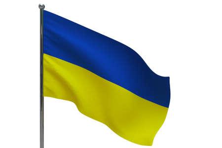 Ukraine flag on pole. Metal flagpole. National flag of Ukraine 3D illustration isolated on white Stok Fotoğraf