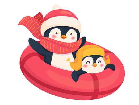 Penguins on a snow tube isolated. Sport and leisure concept illustration