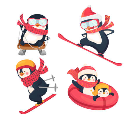 Active penguins in winter. Winter sports on holidays flat illustration