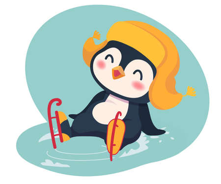Penguin ice skating. Leisure concept illustration